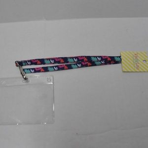 ID Case & Lanyard Navy Floral Mint Pink NWT